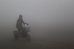 Haze days. China, fog and haze days, severe pollution of air quality stock photography