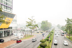 Haze Engulfed Kuching. KUCHING, MALAYSIA - SEPTEMBER 17, 2015 : Kuching city has been hit with haze at a very unhealthy level. The Air Pollutant Index rose to Stock Image
