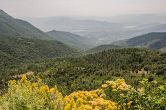 Haze or Fog Over the Valley and Distant Mountains Stock Image