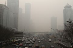 Haze heavier around Beijing Royalty Free Stock Images