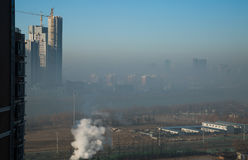 Haze heavier around Beijing. Beijing Air Pollution Draws Rare `Orange` Alert As Thick Haze Shrouds City,Jan.2, 2017 Stock Photo