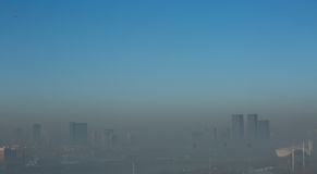 Haze heavier around Beijing. Beijing Air Pollution Draws Rare `Orange` Alert As Thick Haze Shrouds City,Jan.2, 2017 Stock Images