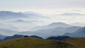 Haze layers. Mountains in Catalonia covered by haze Stock Photo