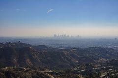 Haze look of Los Angeles downtown skyline. From Hollywood Trail, California, United States royalty free stock photography