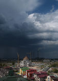 Haze over the city. Large gloomy storm cloud covered the small town in Ukraine Stock Images