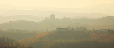 Haze over the hills. Piedmont, Northern Italy. Royalty Free Stock Photos