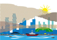 Haze over a populated city and covering buildings. Haze over a city and seaport that affects southern asian countries due to forest fires. Editable Clip Art and vector illustration