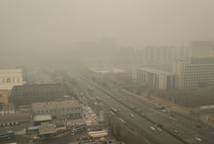 Haze pollution around Beijing Stock Images
