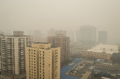 Haze pollution covered Beijing Stock Images