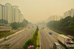 Haze in Singapore Highway Royalty Free Stock Photography