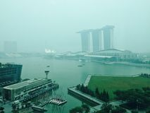 haze smoke in Singapore due to forest fires in Indoneasia : view of marina bay Stock Image
