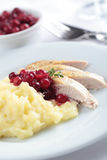 Hazel Grouse with mashed potato Stock Images