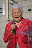 Hazel McCallion. Mississauga, ON, Canada - June 24: Mississauga's mayor Hazel McCallion speaks at a community rally June 24, 2009 in Clarkson, Mississauga Royalty Free Stock Photo