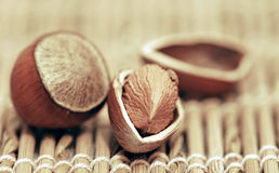 Hazel Nut On The Wickerwork Royalty Free Stock Images