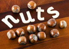 Hazel nuts. A close up of the word nuts on a wooden board with hazel nuts on it stock image