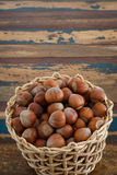 Hazel nuts in wicker busket Royalty Free Stock Images