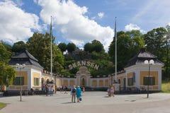 Hazelius-Eingang von Skansen-Park, Stockholm Lizenzfreies Stockfoto