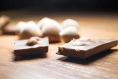 Hazelnoot en chocolade 17 Stock Afbeeldingen