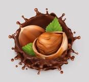 Hazelnoot en chocoladeplons 3d vectorpictogram Royalty-vrije Stock Afbeeldingen
