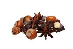 Hazelnoten en chocolade Royalty-vrije Stock Fotografie