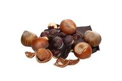 Hazelnoten en chocolade Royalty-vrije Stock Foto's