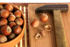 Hazelnut. Basket with hazelnuts and a hammer for splitting nuts Royalty Free Stock Photo