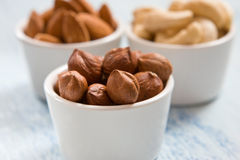 Hazelnut, almonds and acajou. In the white dishes stock image