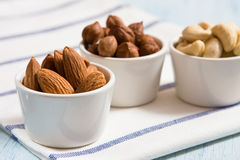 Hazelnut, almonds and acajou. In the white dishes stock images