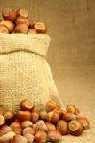 Hazelnut in Bag Stock Photos
