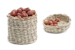 Hazelnut in basket Royalty Free Stock Image