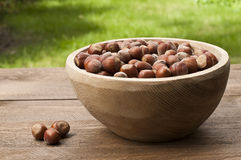 Hazelnut in a bowl Stock Photos
