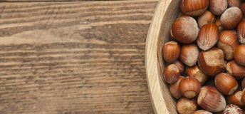 Hazelnut in a bowl Stock Photos