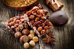 Hazelnut brittle Stock Photography