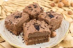 Hazelnut cake covered with chocolate cream Stock Photos