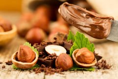 Hazelnut with chocolate bars and green leaves on owooden background Royalty Free Stock Photos