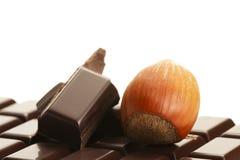 Hazelnut and chocolate on a chocolate bar Stock Photo