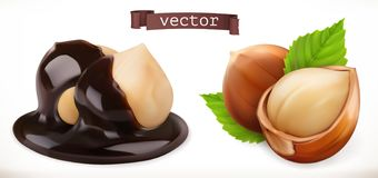 Hazelnut in chocolate. 3d realistic vector icon royalty free illustration