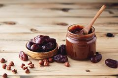 Hazelnut Chocolate Date Spread sugar-free. Hazelnut Chocolate Date Spread vegan and sugar-free royalty free stock photo