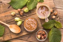Hazelnut Chocolate Date Spread vegan and sugar-free. NHazelnut Chocolate Date Spread vegan and sugar-free royalty free stock image