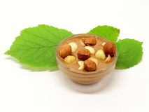 Hazelnut chocolate in glass bowl with leaf Stock Photography