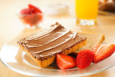 Toast with chocolate cream Royalty Free Stock Photo