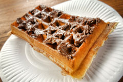 Hazelnut Chocolate Sweet Spread on a Fresh Waffle royalty free stock images
