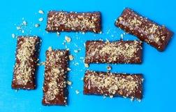 Hazelnut chocolate wafers on blue background Royalty Free Stock Photos
