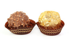 Hazelnut chocolate wrapped in golden foil Stock Photography