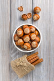 Hazelnut and cinnamon Royalty Free Stock Images