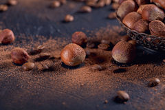 Hazelnut, coffee beans and cocoa powder in dark background. Royalty Free Stock Photos