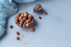 Hazelnut, coffee beans and cocoa powder in light blue background Stock Photos