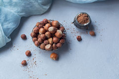 Hazelnut, coffee beans and cocoa powder in light blue background Stock Photo