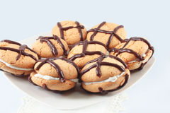 Cookies with chocolate and cream Stock Photos