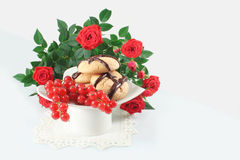 Cookies with chocolate and red currant Stock Photo
